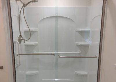Fiberglass Shower with Framed Glass Doors