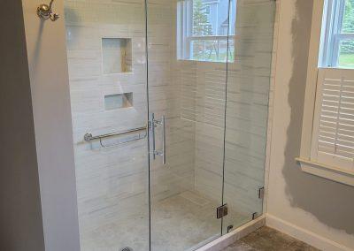 Three panel shower glass